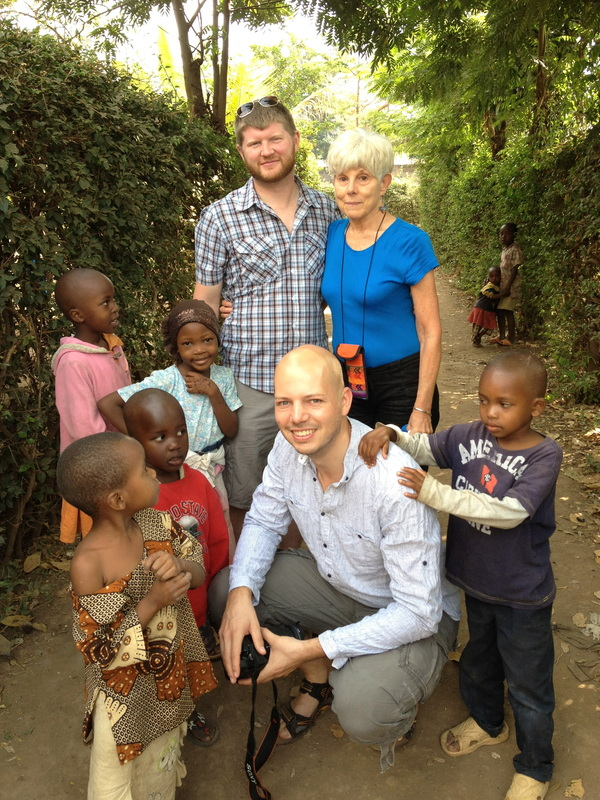 Heshie with some of the kids in Africa