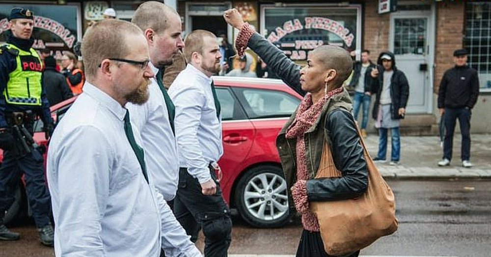 Photo Of Woman Defying Neo-Nazi March Goes Viral
