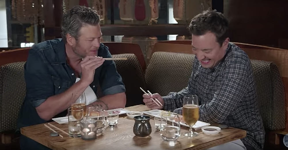 Country Star Blake Shelton Forced To Try Sushi For First Time…I Can't Stop Laughing!
