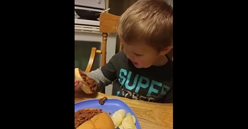 Mom Tries To Get 2-Yr-Old To Eat Dinner. His Response Has Her Rolling On The Floor Laughing
