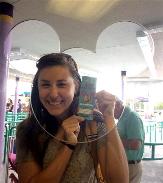 Chelsea Herline, 27, posed with the 22-year-old ticket to Disney World that the park redeemed last month.