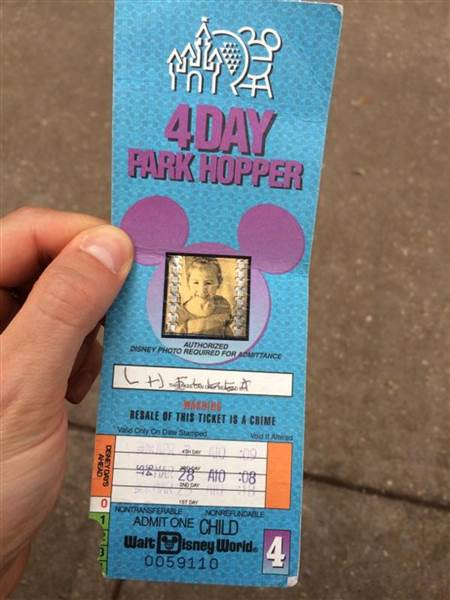 The old ticket even had a picture of Herline from when she was 4 years old, along with her signature.