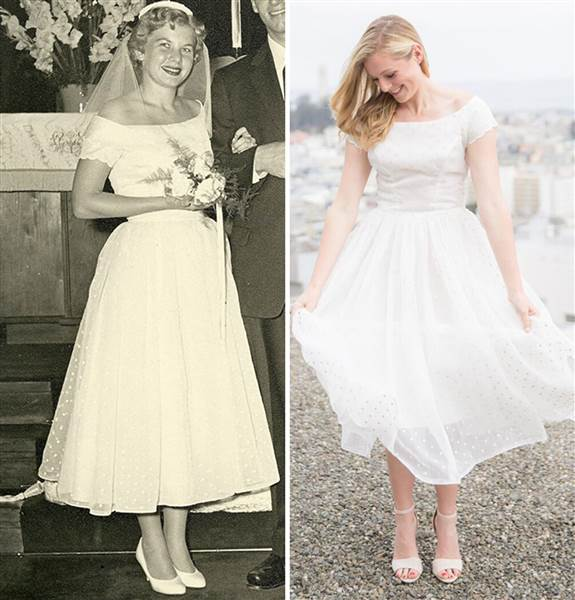 Shanna Wagnor in her grandmother's wedding dress and her grandmother on her wedding day in 1955. Courtesy of Shanna Wagnor and Lori Paladino Photography