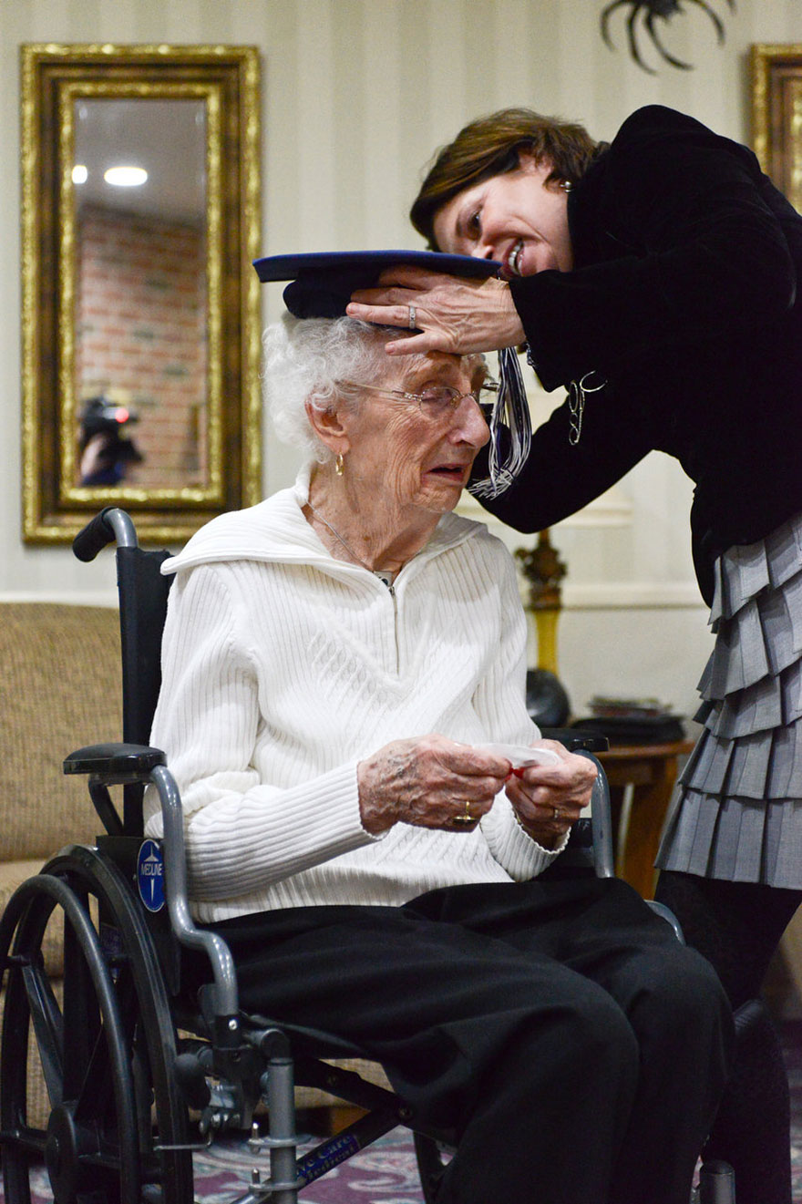 She received an honorary high school diploma 79 years after she was supposed to graduate