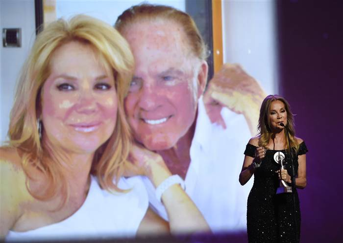 """Kathie Lee Gifford accepts the award for outstanding on-air talent for """"The Today Show"""" at the 41st annual Gracie Awards Gala. Chris Pizzello / AP"""