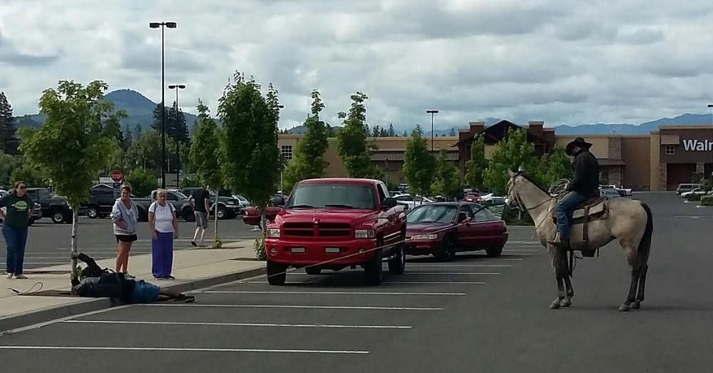 Rancher On Horseback Lassoes Bike Bandit At Walmart