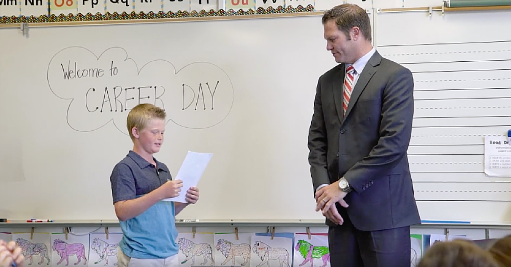 Dad Thinks He's Coming For Career Day, But Watch What Happens When His Son Joins Him…