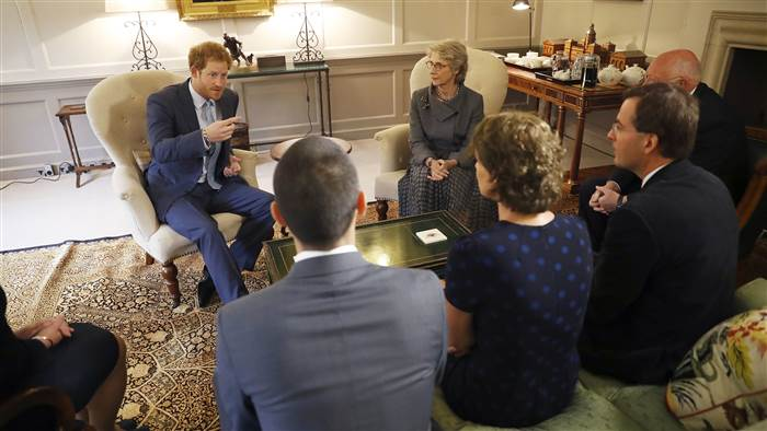 Prince Harry speaks after presenting the gold medal Elizabeth Marks won in last month's Invictus Games to the medical team from Papworth Hospital who treated her.