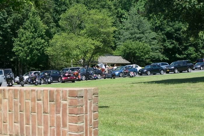 The 200 cars lined up to honor Serina Vine at her funeral. Courtesy of Catherine Rae Photography