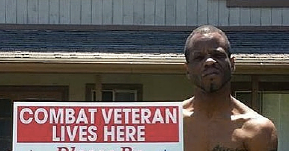 Veteran Holds 'Patriotic' Sign In Front Of House. When I Read It My Jaw Dropped