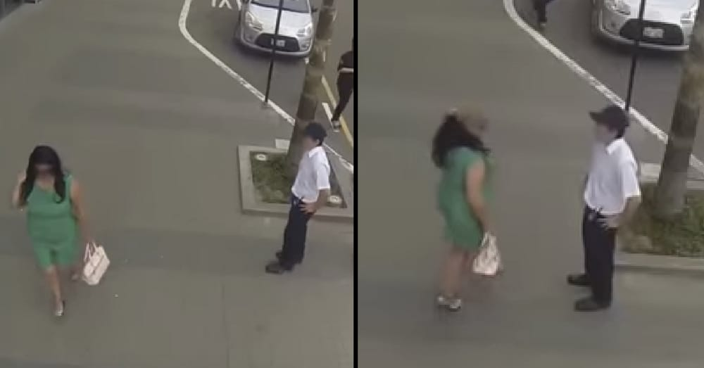 Rude Man Catcalls Woman In Green Dress. Then She Takes Off Her Wig