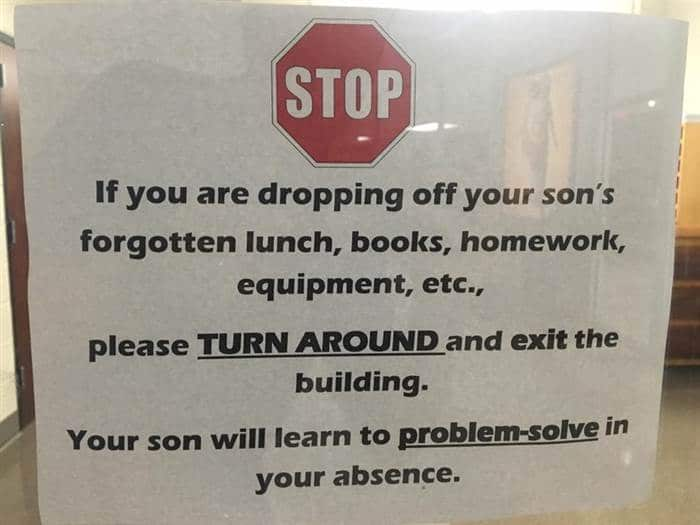 """This sign was posted on the Facebook page of Catholic High School for Boys with the caption: """"Welcome to Catholic High. We teach reading, writing, arithmetic, and problem-solving."""""""