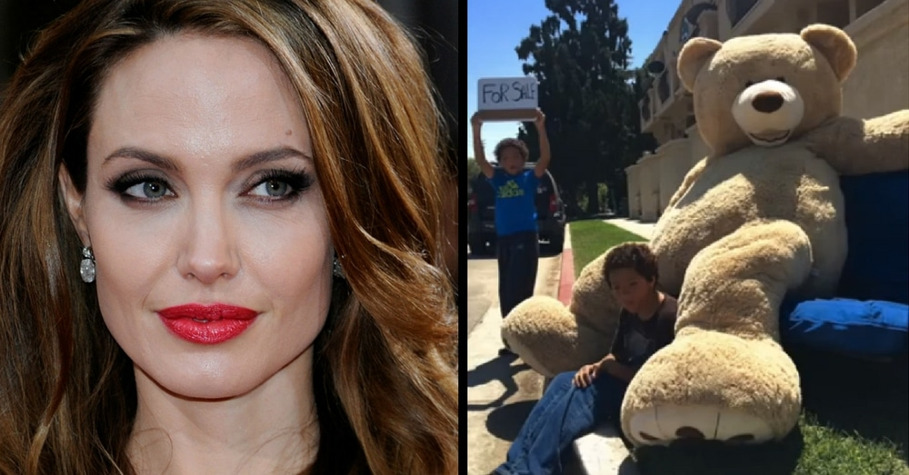 Twins Try To Sell Beloved Bear But No One Will Help. Then Angelina Jolie Stops By…