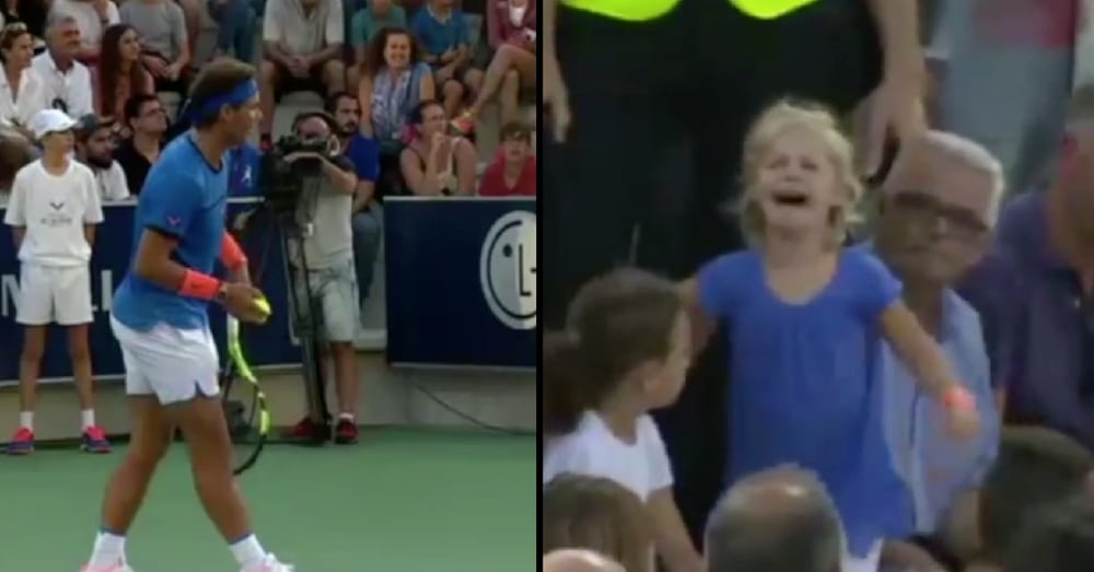 Frightened Lost Girl Can't Find Her Mommy, Then Tennis Pro Does Something Stunning