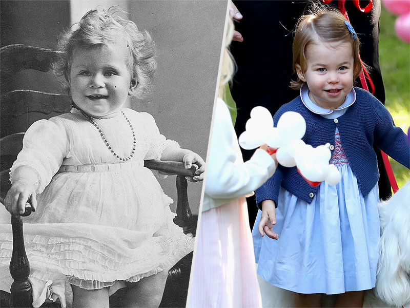 From left: A portrait of Queen Elizabeth as a baby and Princess Charlotte. POST/HULTON ARCHIVE/GETTY; CHRIS JACKSON/POOL/GETTY