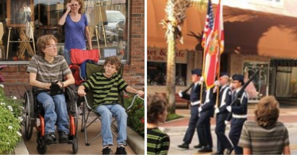 16-Yr-Old Bound To Wheelchair, But Watch What He Does When He Sees American Flag Go By