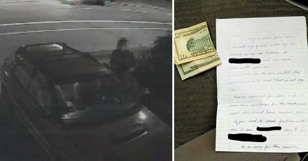 Couple's Car Stolen From Driveway. Next Day It Reappears With $30 And This Note