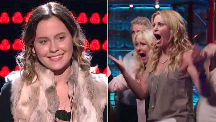 """Candace Cameron Bure reacts to her daughter Natasha's performance on the """"Voice."""" @NBCTheVoice/Twitter"""
