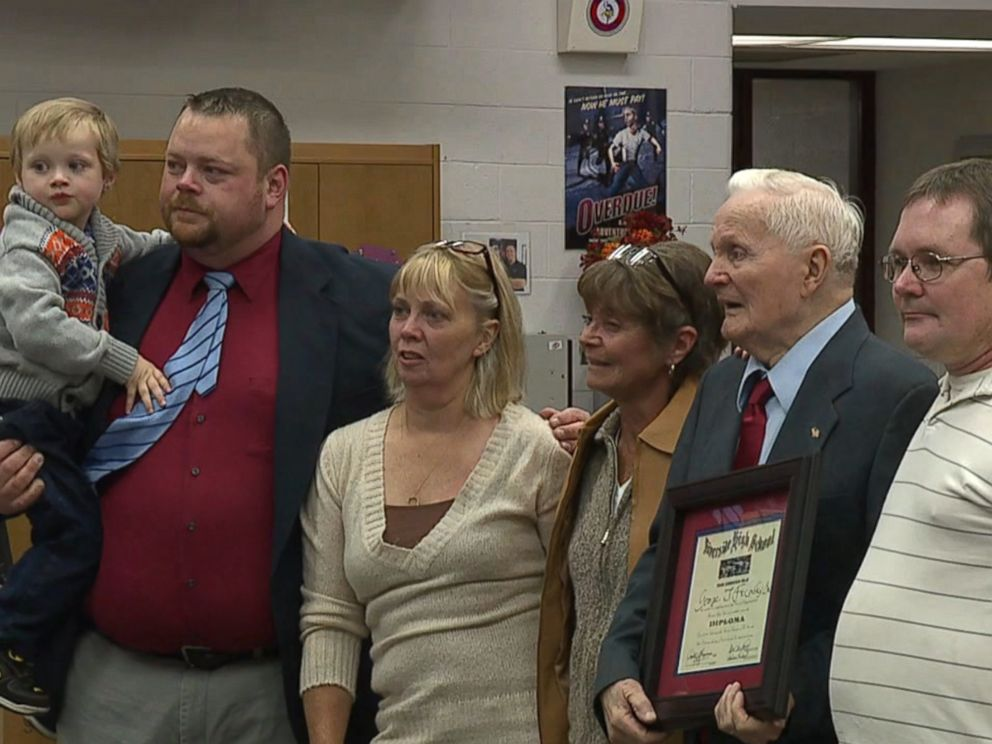 George J. Fricovsky, Sr., 90, was surprised with an honorary high school diploma on Oct. 11, 2016. Fricovsky, Sr. said he was forced to leave high school at age 17 in 1944 when he served in the U.S. Army during World War II.