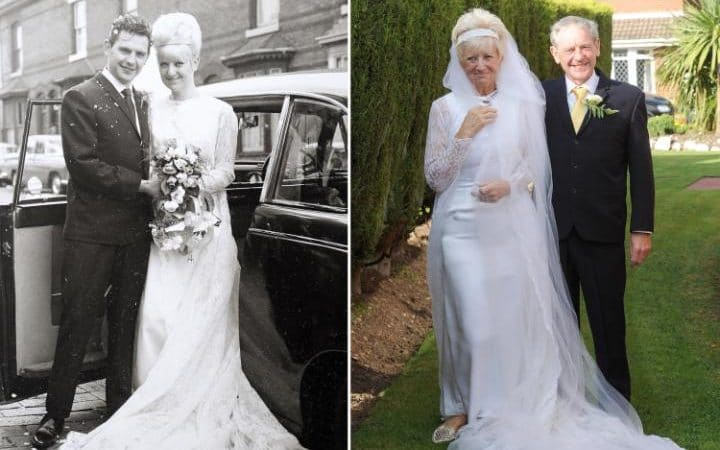 Carole-Ann and Jim Stanfield still fit in their old wedding clothes 50 years later  CREDIT: SWNS