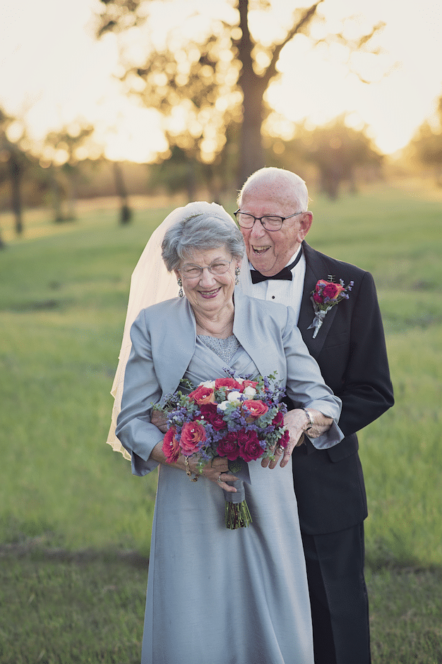 No one had a camera at the couple's 1946 wedding, so they don't have any photo documentation from that day.  LARA CARTER PHOTOGRAPHY