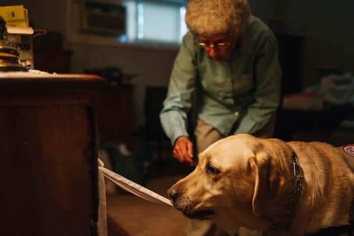 Joe helps Weiss open a dresser drawer in her bedroom. Michael Rubenstein / for TODAY