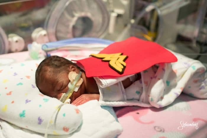 Many of the babies were dressed as superheroes to pay respect to their journey of fighting for their lives. Image credits: Emmalee Schaumburg
