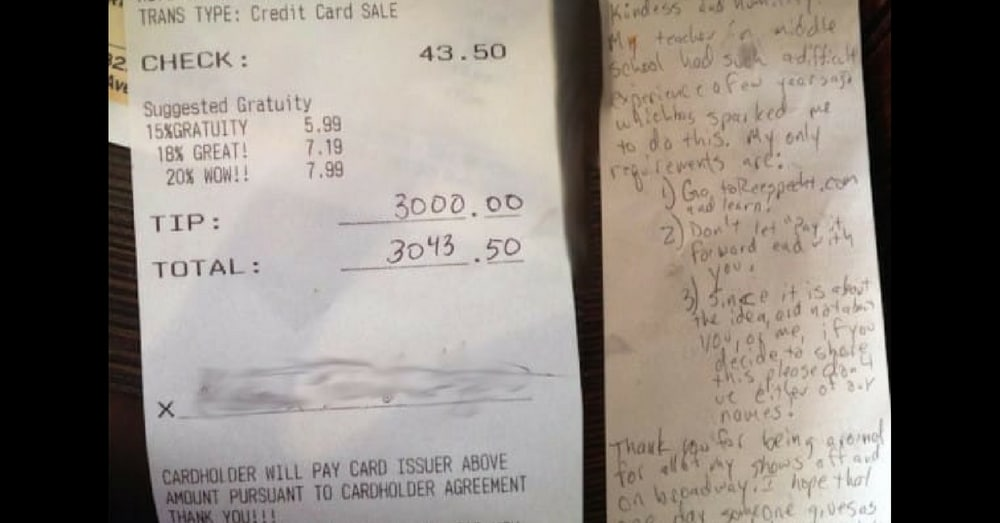Waitress Gets $3000 Tip, Then She Realizes It Comes With 3 'Conditions'…