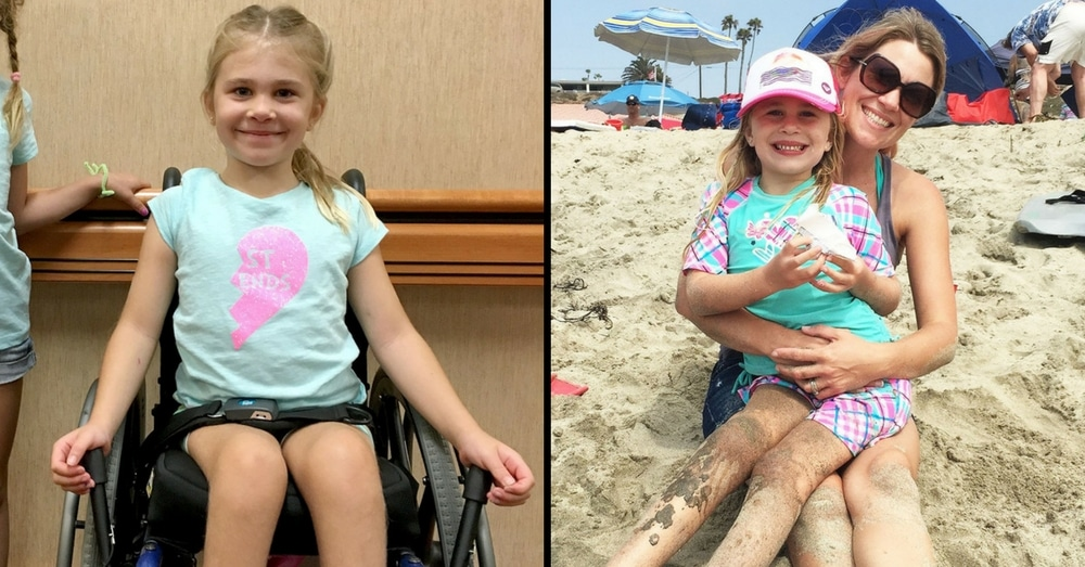 6-Yr-Old Paralyzed In Gymnastics Accident. 6 Months Later Mom Looks Over And Sees It