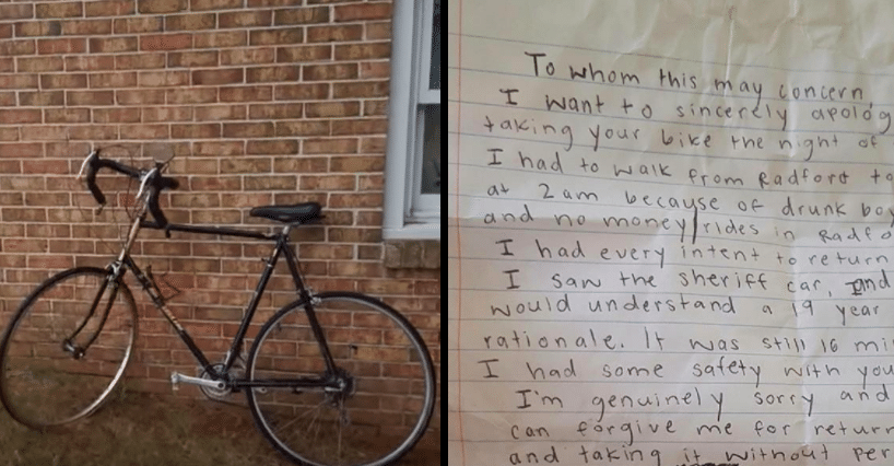 Cop's Bike Goes Missing From Front Yard, That's When He Finds The Note