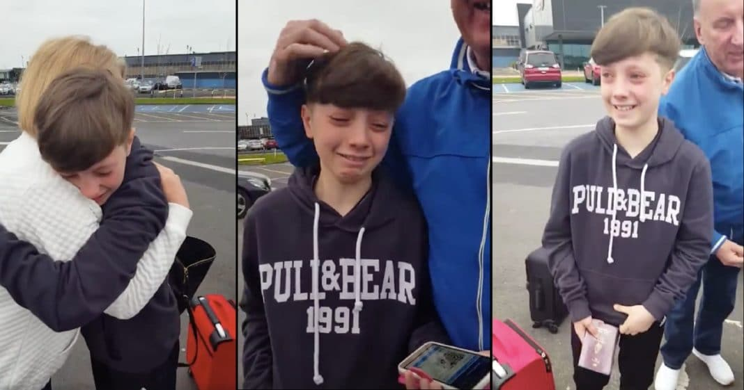 Boy In Tears Saying Goodbye To Grandparents, Then Sees Something On Phone