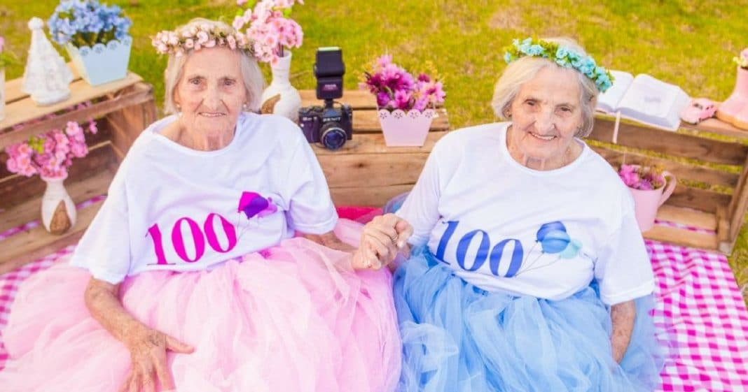 100-Year-Old Twins Celebrate Milestone Birthday With Whimsical Photo Shoot