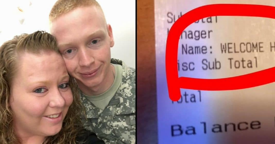Returning Soldier At Dinner With Family. When Waiter Brings Check He Instantly Spots It