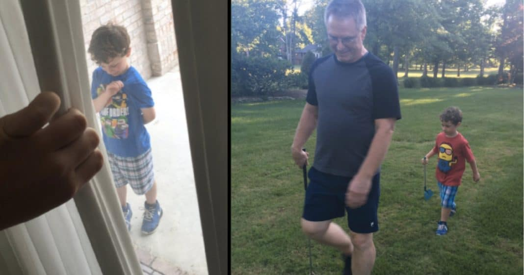 Little Boy Lonely When Dad Gets Deployed. What Neighbor Does For Him Melts Mom's Heart