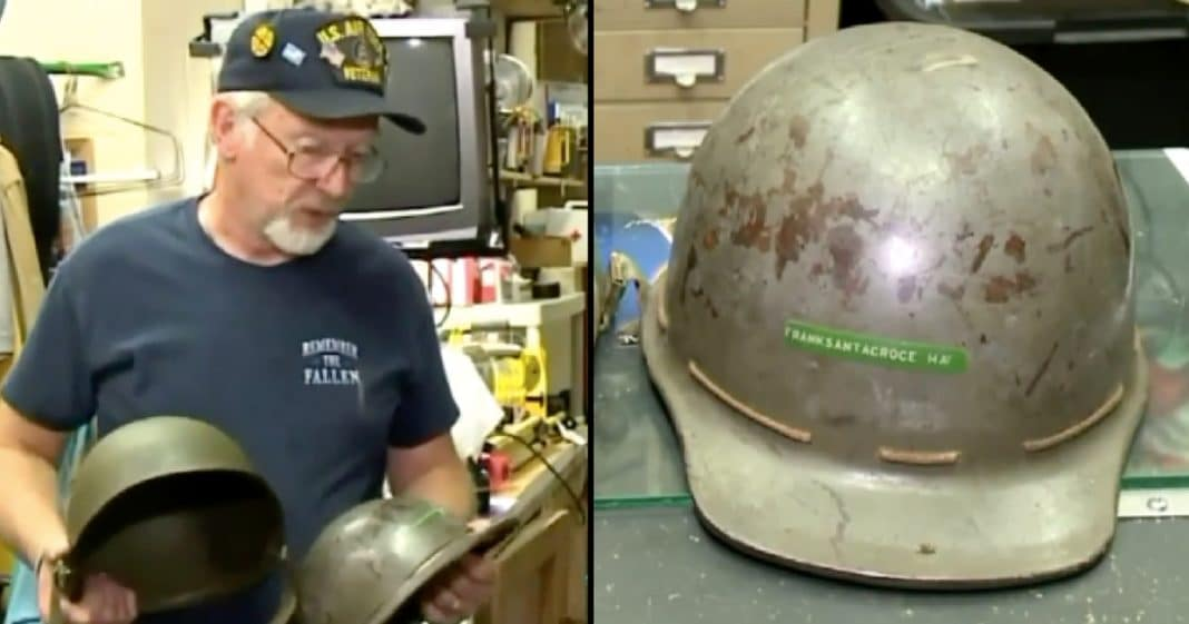 Veteran Finds WWII Helmet In Donations, Then Sees Name On The Front And Knows