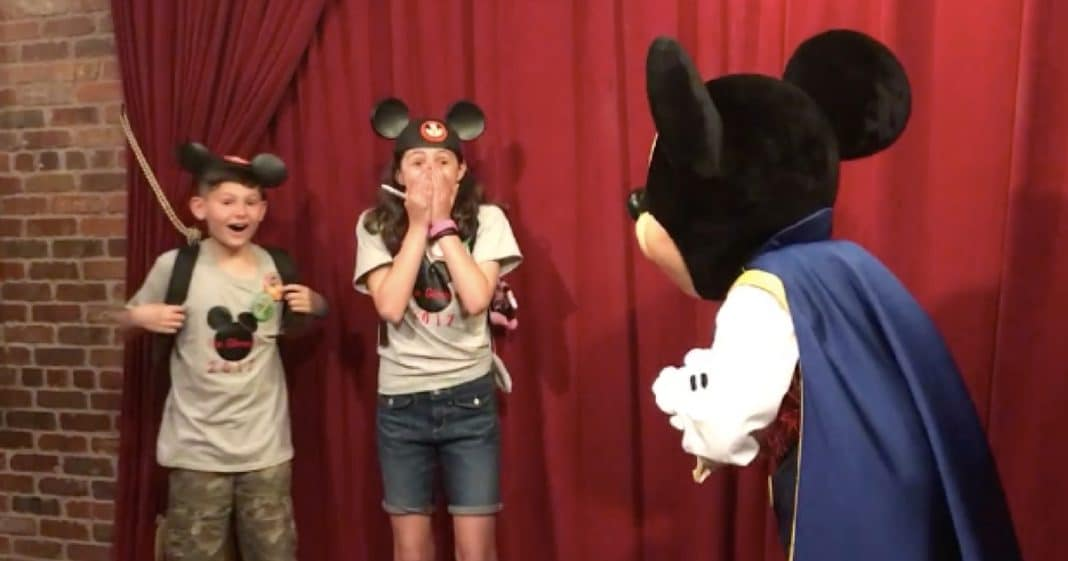 Kids Can't Wait To Get Picture With Mickey, Then They Hold Up Sign That Has Them Bawling