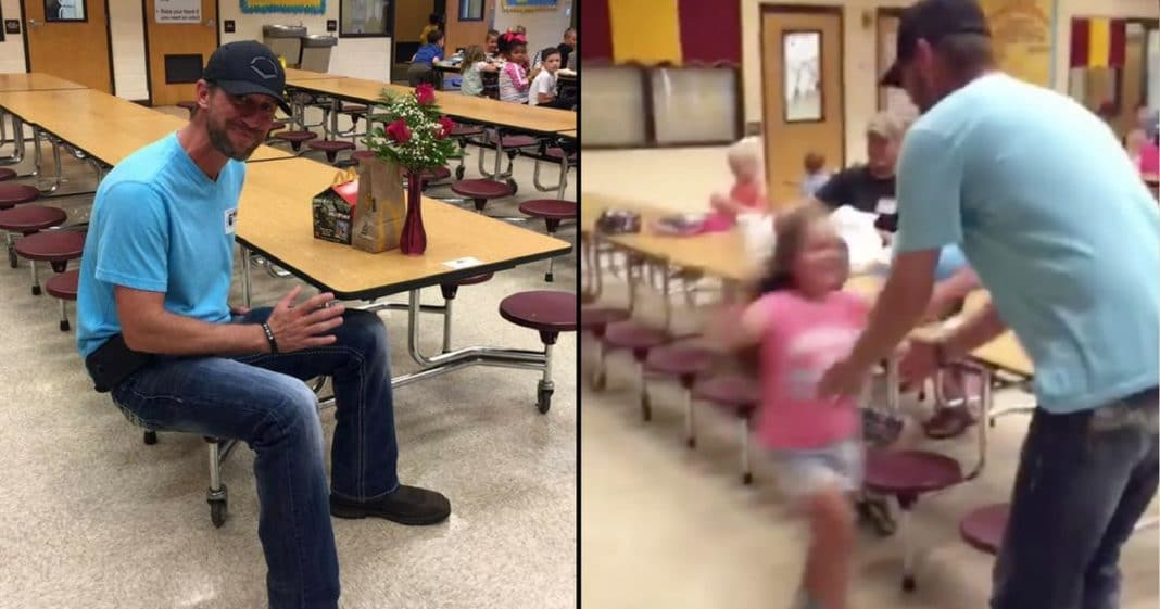 She Sees Man Sitting Alone In Cafeteria. When He Says Why He's There She Breaks Down In Tears