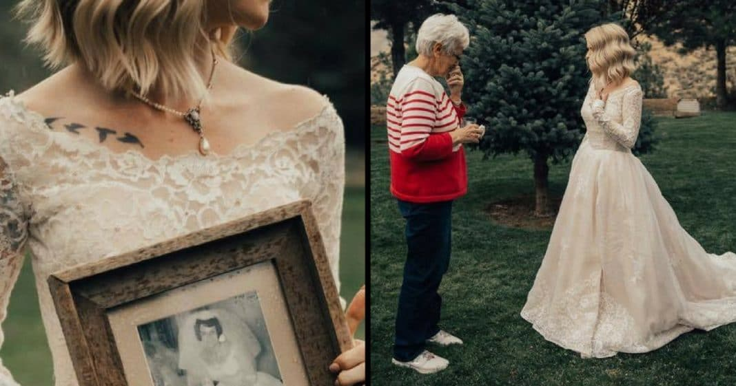 Bride Walks Out To Meet Family. When G'ma Sees Dress She Instantly Breaks Down In Tears