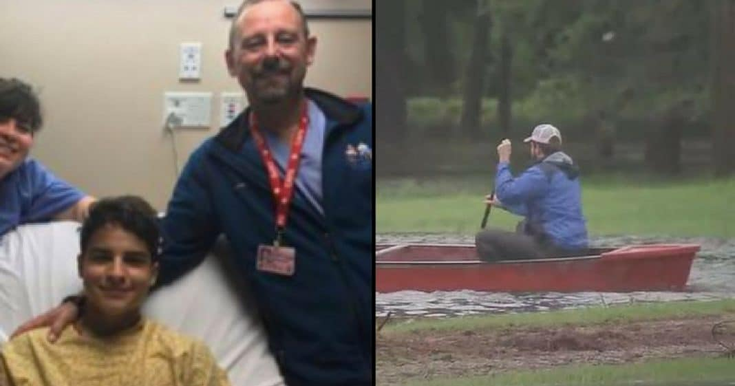 Teen Writhes In Pain After Injury From Flood, Then Stranger Paddles Up In Canoe