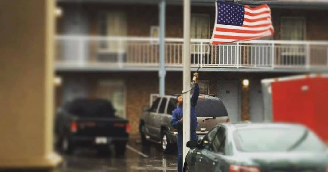 She's Confused When He Takes Down American Flag, But What He Says Next Leaves Her In Tears