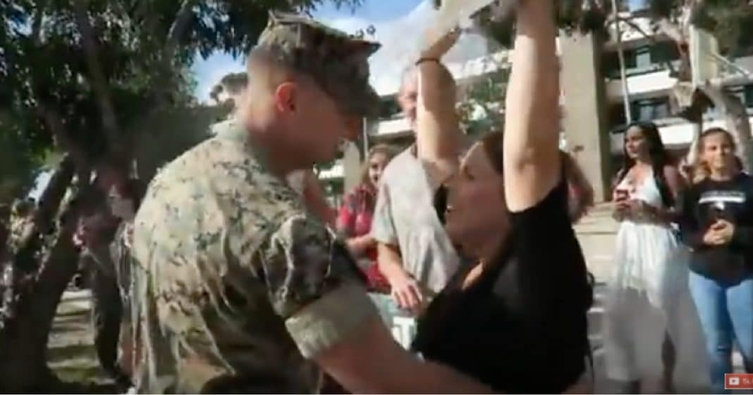 Returning Marine Races Over To Waving Wife, Then She Says They Have To Go To Hospital
