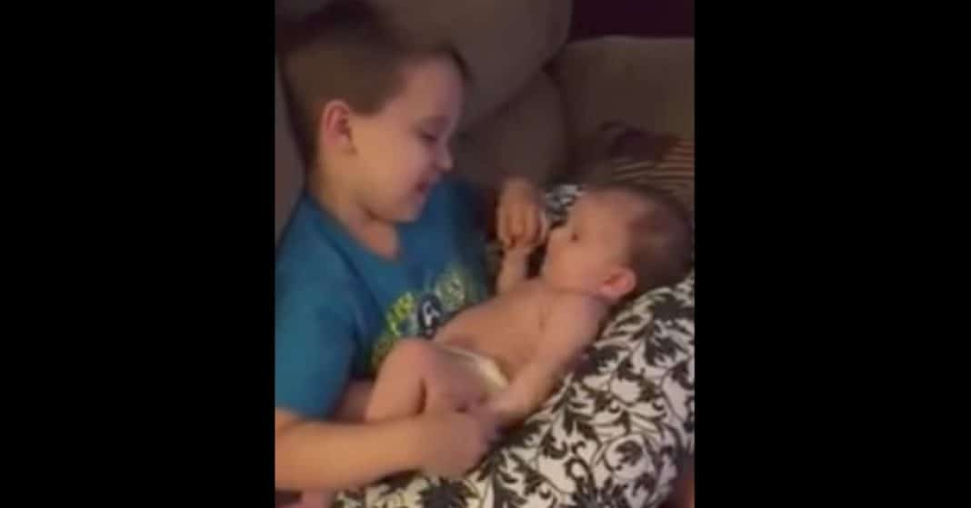 Mom Catches Young Son Holding Newborn Sister. What He Does Next Will Melt Your Heart