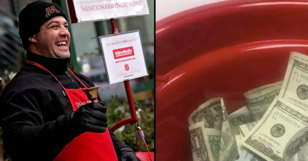 Salvation Army Ringer Opens Bucket To Count Money, Then He Realizes What's Inside
