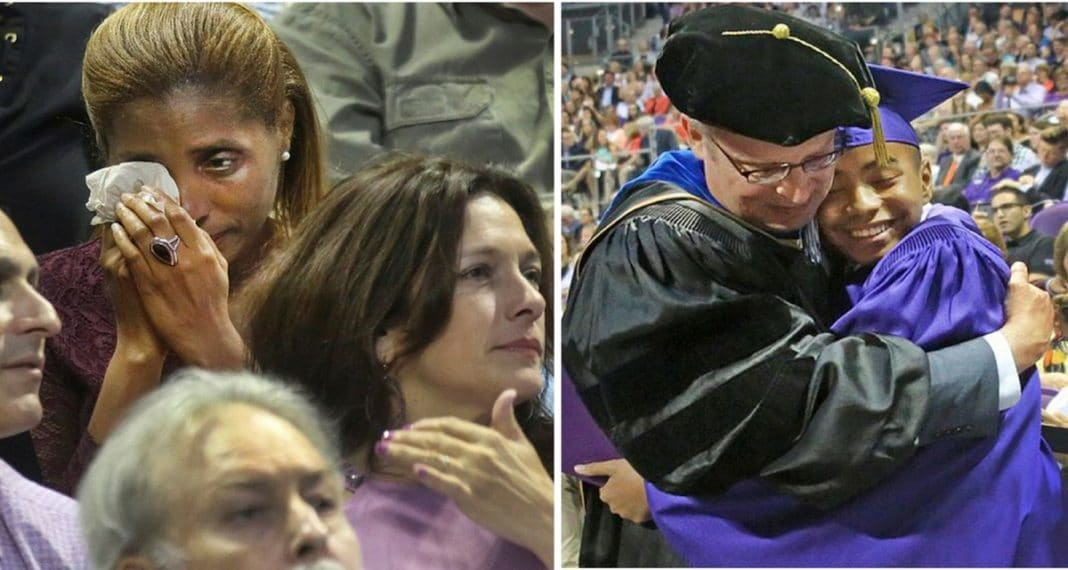Mom breaks down in tears as age 14 son walks across stage to accept his college diploma