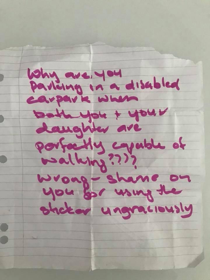 Note left on car in Queensland