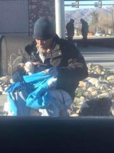 homeless man and chihuahua