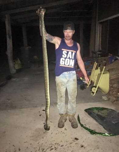 Tamara's cousin Brady holds up the dead snake.