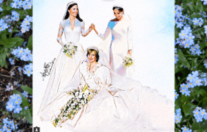 Autumn Ying illustration of Princess Diana, Kate Middleton, and Meghan Markle.