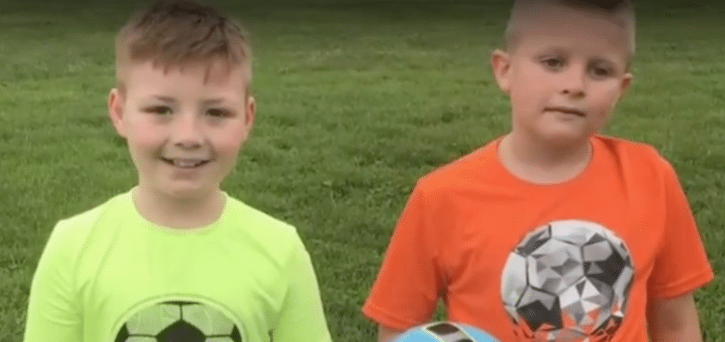 Caleb and his friend at soccer practice