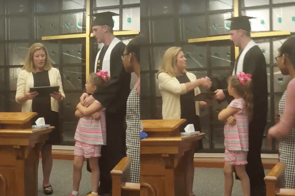 Dalton gets his diploma, while Mom watches